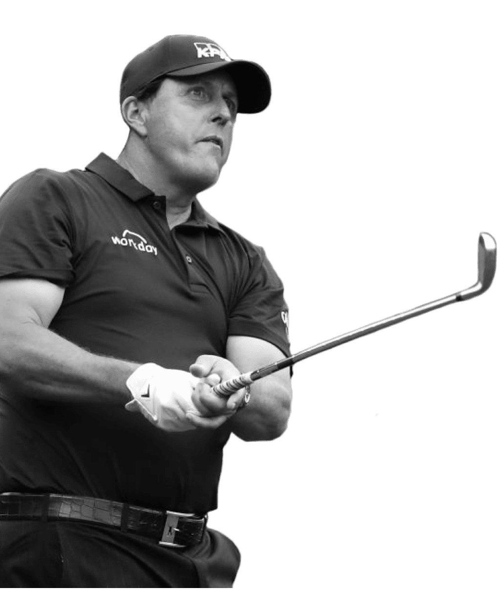 Phil Mickelson eyeing his golf shot