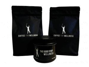 two bags of phil mickelson coffee for wellness coffee and 30 serving tub of the good stuff powdered supplement creamer