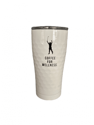 white coffee for wellness tumbler with phil mickelson outline and golf ball texture